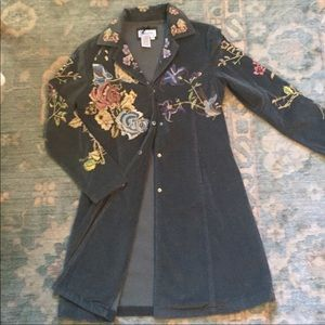Jackets & Blazers - Beautiful Faded Teal Blue Jacket with Embroidery